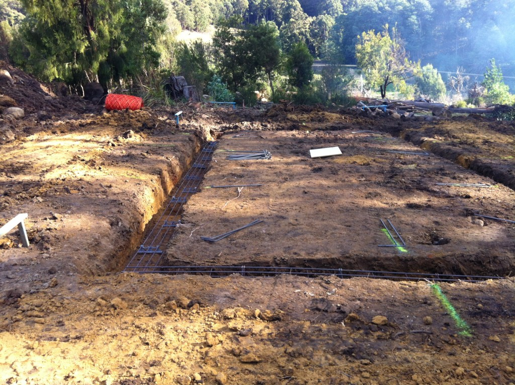 The footings all dug with the trench mesh (steel reinforcing) in place