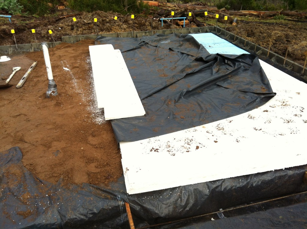 The polystyrene sub-slab insulation can be cut with a handsaw