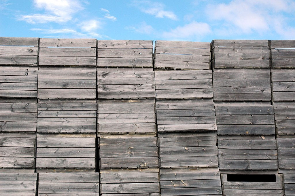 Apple crates: design inspiration for the cladding to reference the local fruit industry