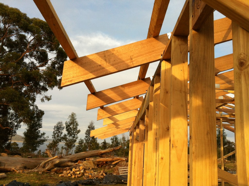 The ends of the trusses will be taper cut to reduce exposure of the end grain to the weather