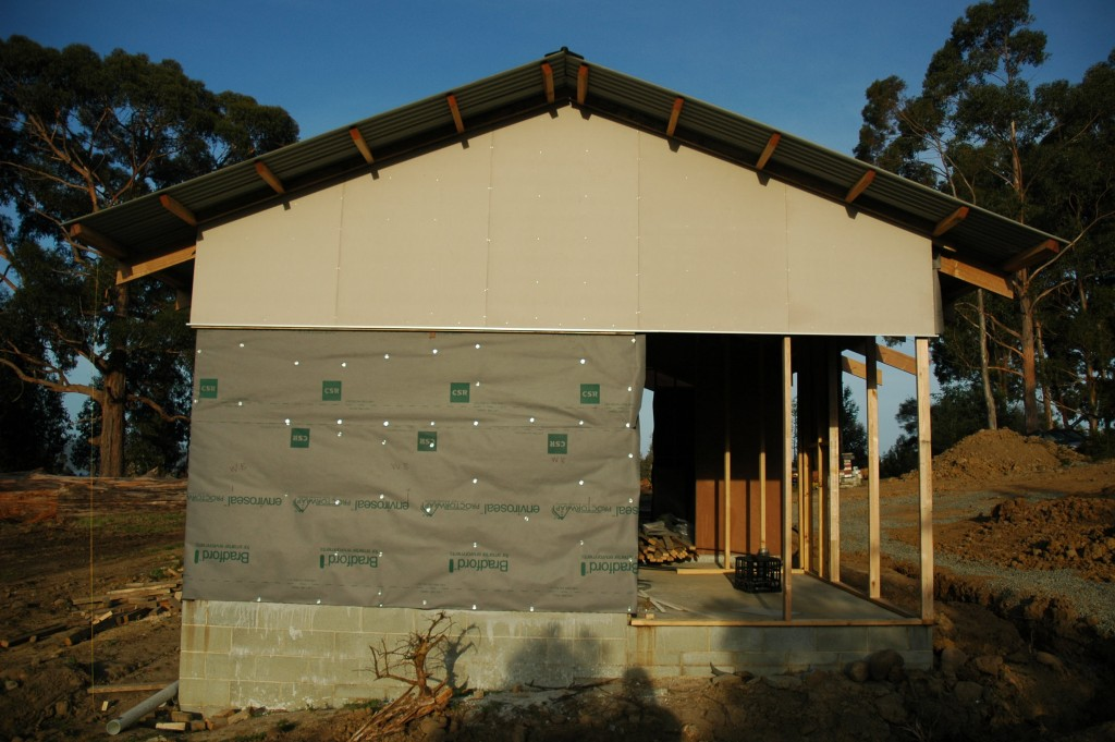 Second wall cladding on: the remainder of the solid wall will be timber weatherboards