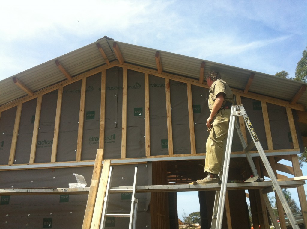 Batten down the hatches: vertical timber battens to provide an air cavity and to fix the cement sheet to