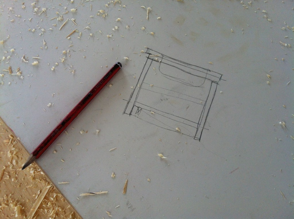 Working drawing: a quick sketch of the kitchen joinery construction