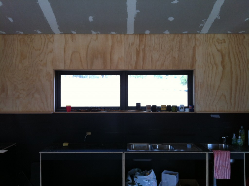 Contrast: the black kitchen and light ply walls