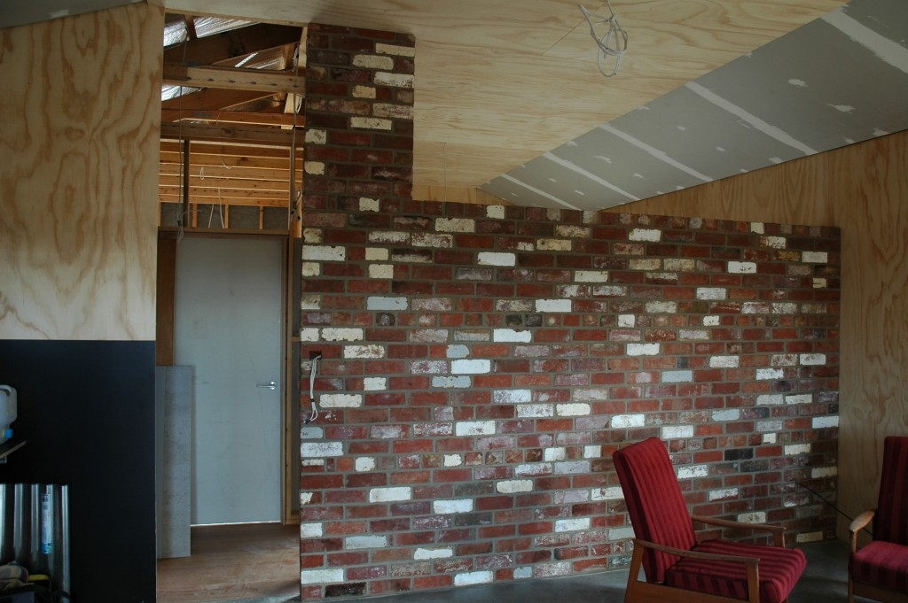 Nice: the recycled internal brick wall complete