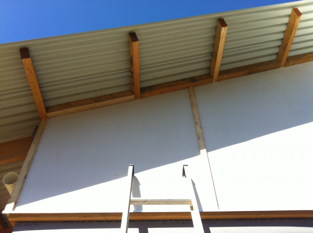 Light and shade: the roof overhang provides good cover to the high cladding