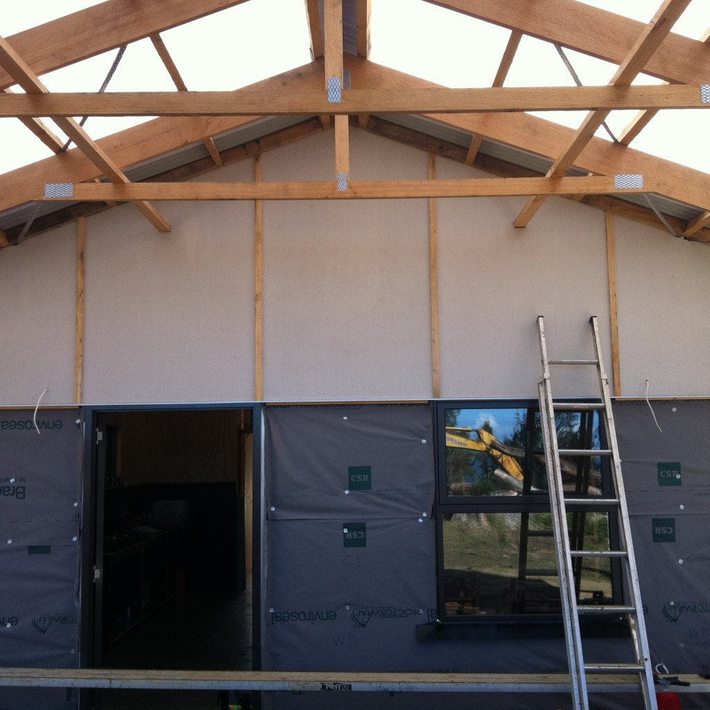 Lines up: the timber cover strips at the verandah gable end