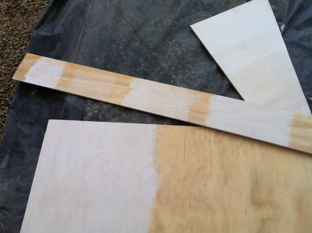 If at first: The various samples of whitewash and limewash on the plywood