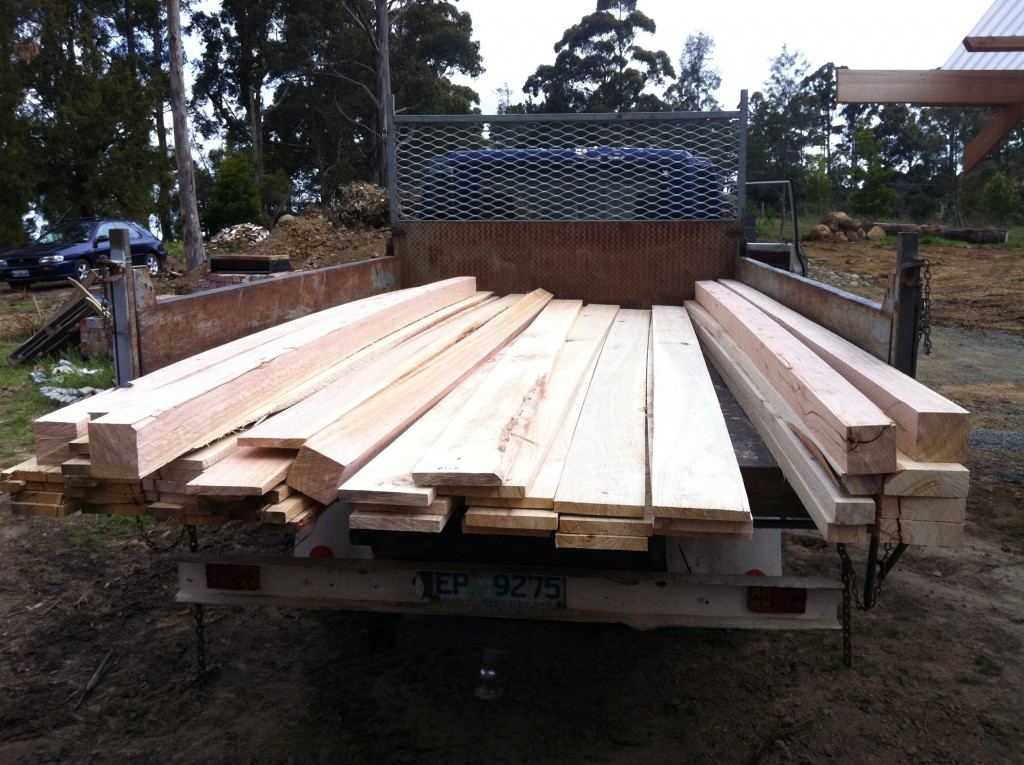 A truck load of timber: the result from the first round of milling