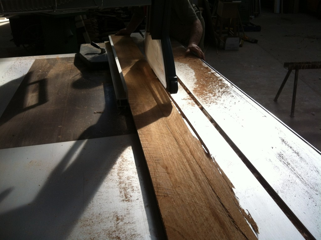 Sizing: cutting the boards to width on the table saw