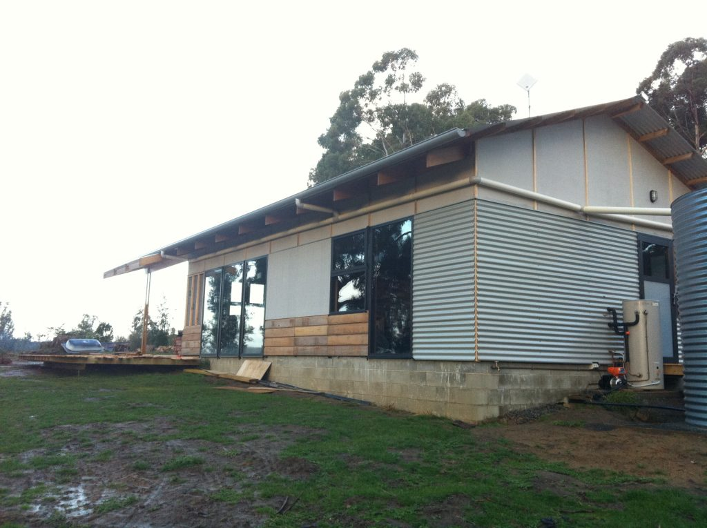 Finished: kinda, temporarily, nearly, getting there. The Colorbond will eventually be replaced by timber weatherboards