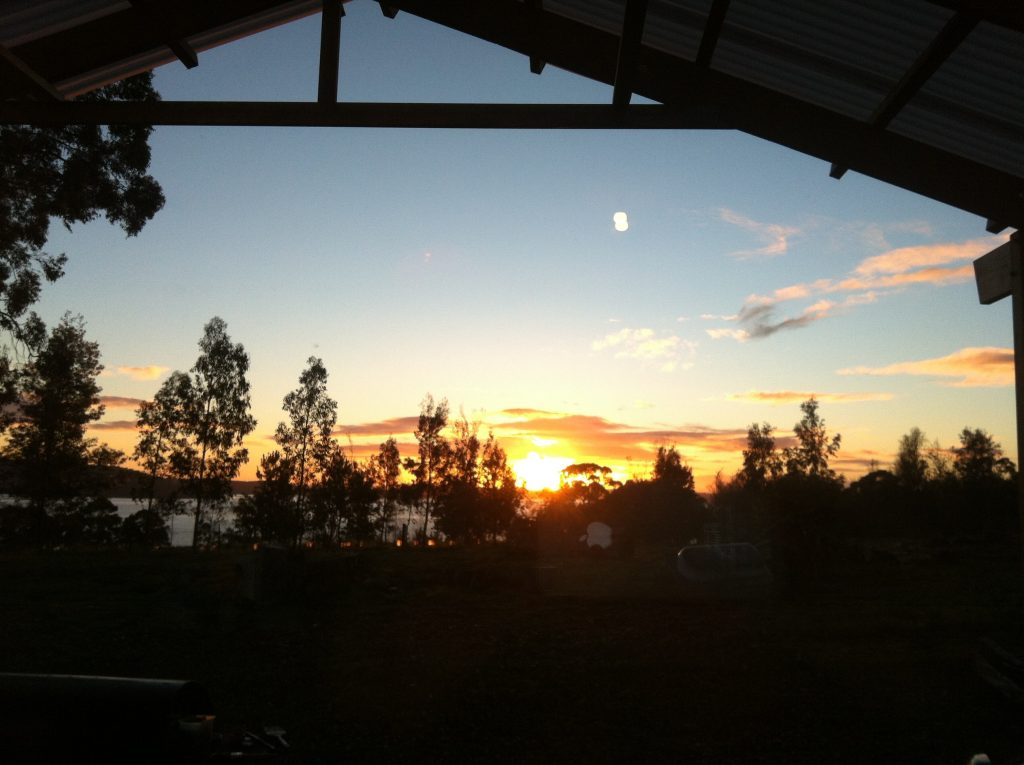 Rise and shine: the view of the sunrise from the kitchen