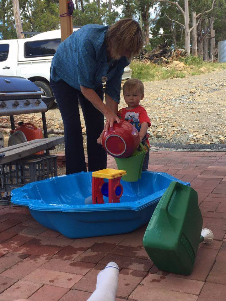 Water hazard: Pacey playing in his pool