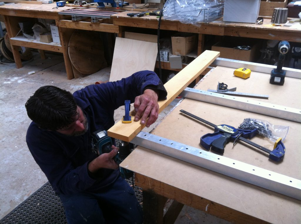On the Mark: Mark setting out the end boards to keep the frame square