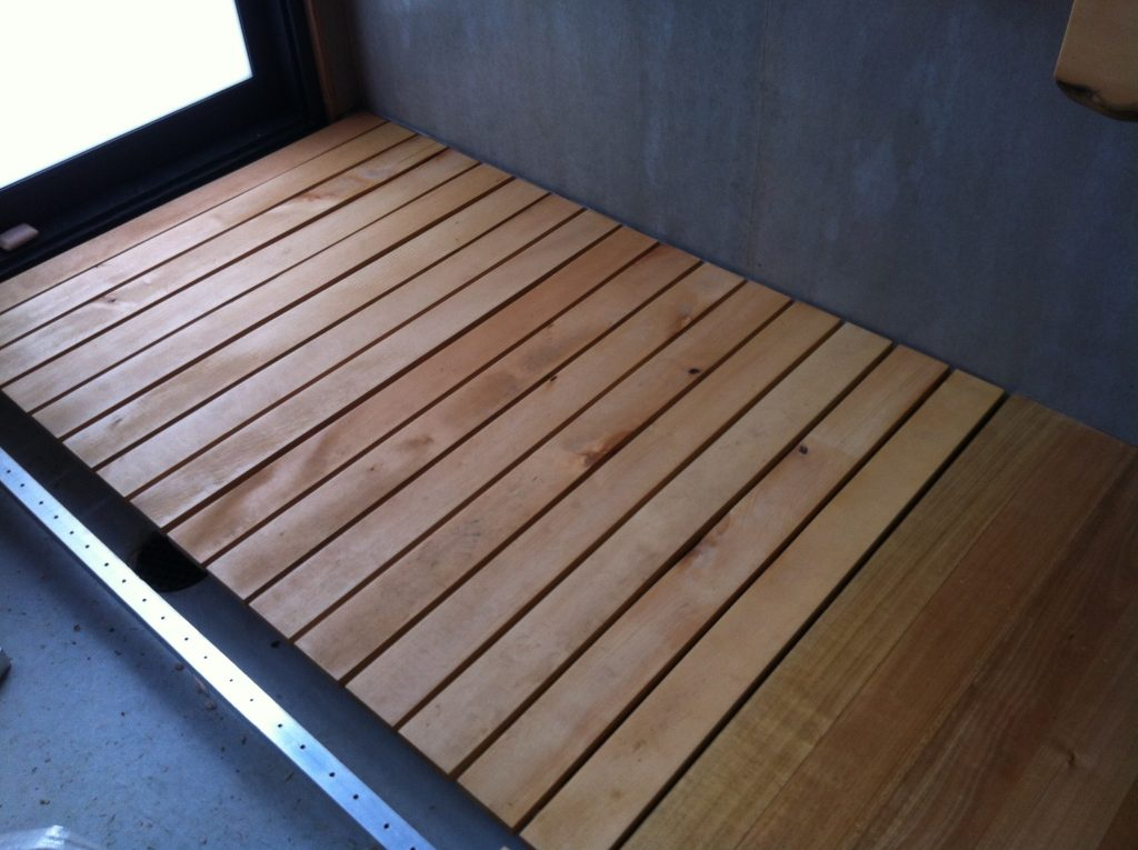 In situ: the shower section of the duckboards sitting in place